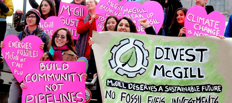 """Divest McGill urging the University to """"break up with fossil fuels"""" in February 2013."""