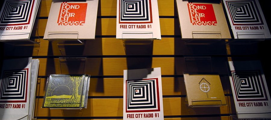 The Free City Radio zine on sale at the Concordia Community Solidarity Co-op Bookstore.