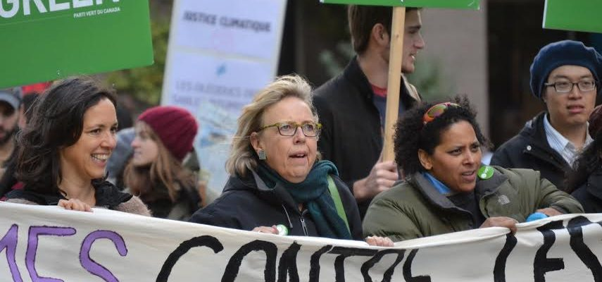 Green Party leader Elizabeth May at a climate justice march in Montreal on October 10.