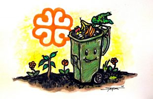 A happy green recycling bin filled with fruits and vegetables on a field of flowers, with the Logo of Montreal in the background.