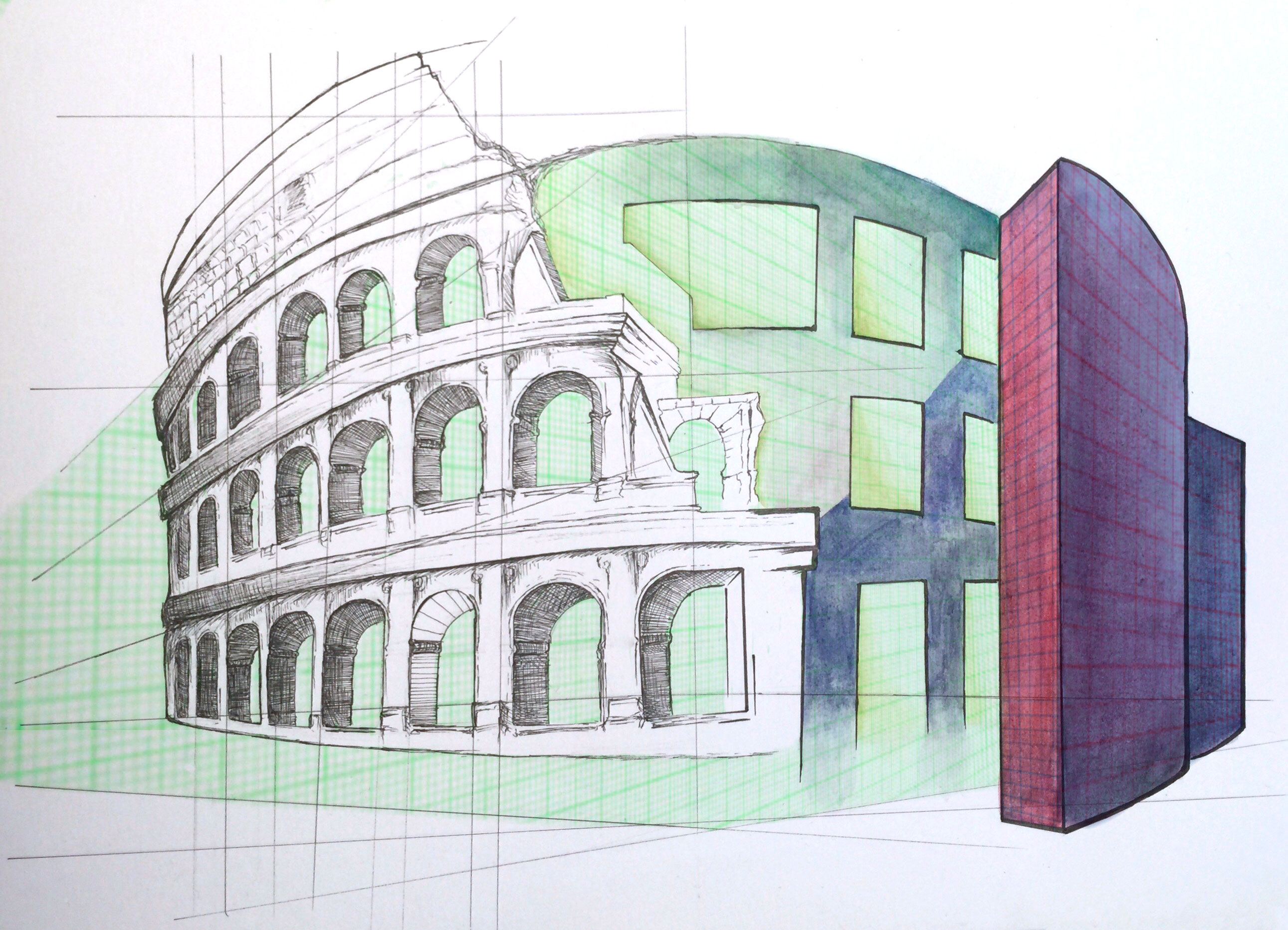 An illustration of a blueprint of the Colosseum blended with modern brutalist architechture