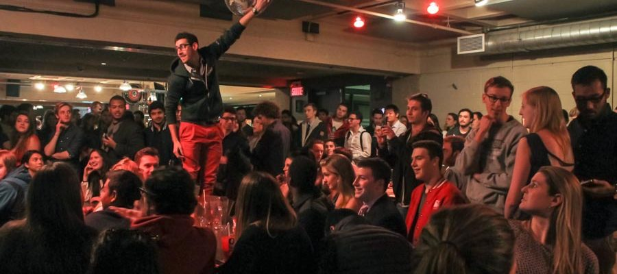 Students celebrating their revolutionary victory.