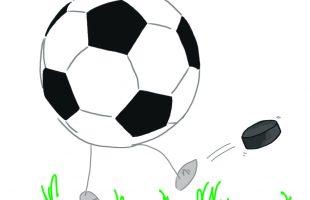A football with legs, kicking away a hockey puck.
