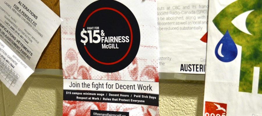 """A photograph of a poster on a corkboard with the words """"15 and Fair"""" on it."""