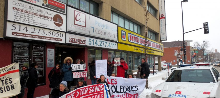 Protestors outside Justin Trudeau's Montreal office.