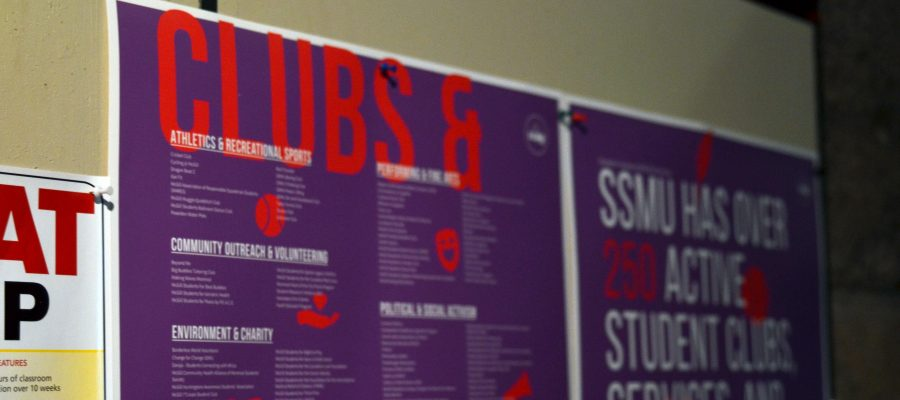 A photograph of a poster listing McGIll clubs and services