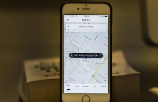 The mobile Uber app.
