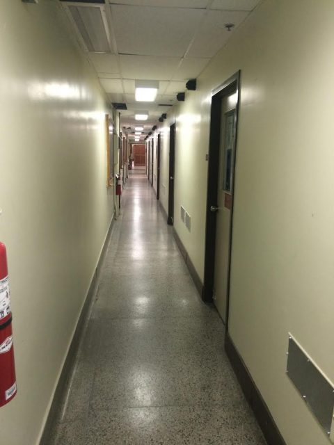 This narrow corridor between labs presents a safety risk.