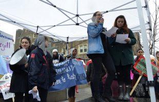 Demonstrators show support for survivors of sexual assault.