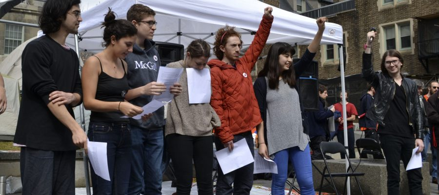 Members of Divest McGill after exiting the sit-in.