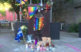 A small memorial at the vigil.