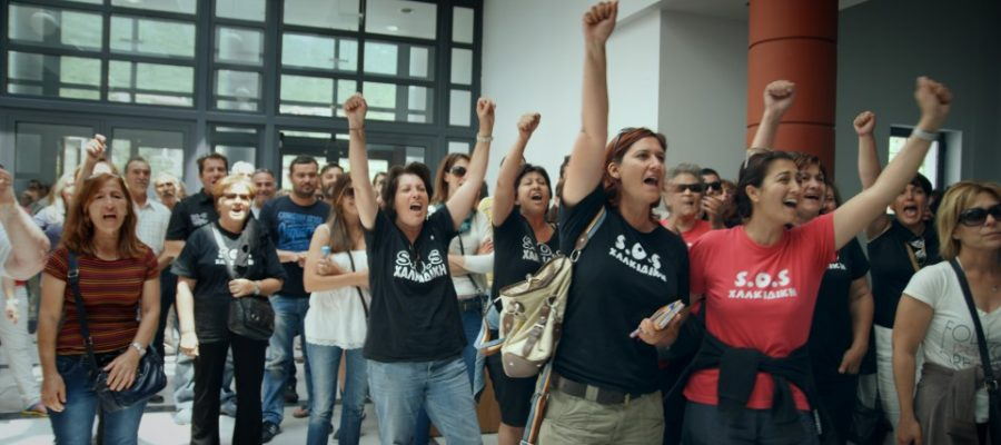 "Protesters against gold mine in Halkidiki, Greece. Still from ""This Changes Everything."" Courtesy of Avi Lewis."