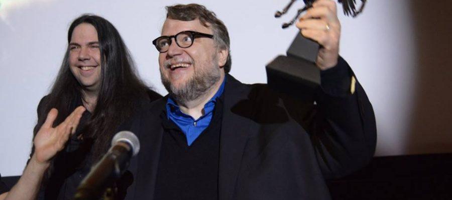 Guillermo del Toro receiving the Cheval Noir Award. Courtesy of King-Wei Chu/Fantasia Film Festival.