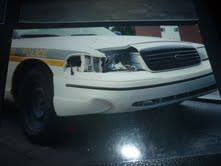 The police cruiser that struck Gladys. Photo courtesy of Bridget Tolley.