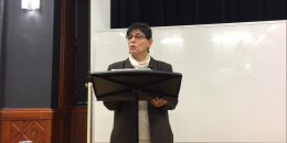 Rabab Abdulhadi giving a lecture at McGill.