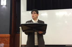 Rabab Abdulhadi giving a lecture at McGill.