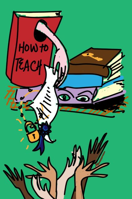 A hand is coming out of a book, dangling a diploma. Six different hands reach out to try to grab it. A pile of books with eyes watches the scene.