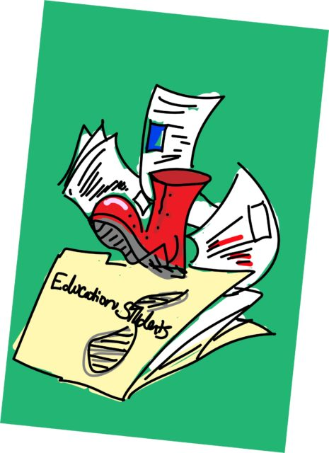 A red boot stomps over a file labeled education studies, several pages fall out.