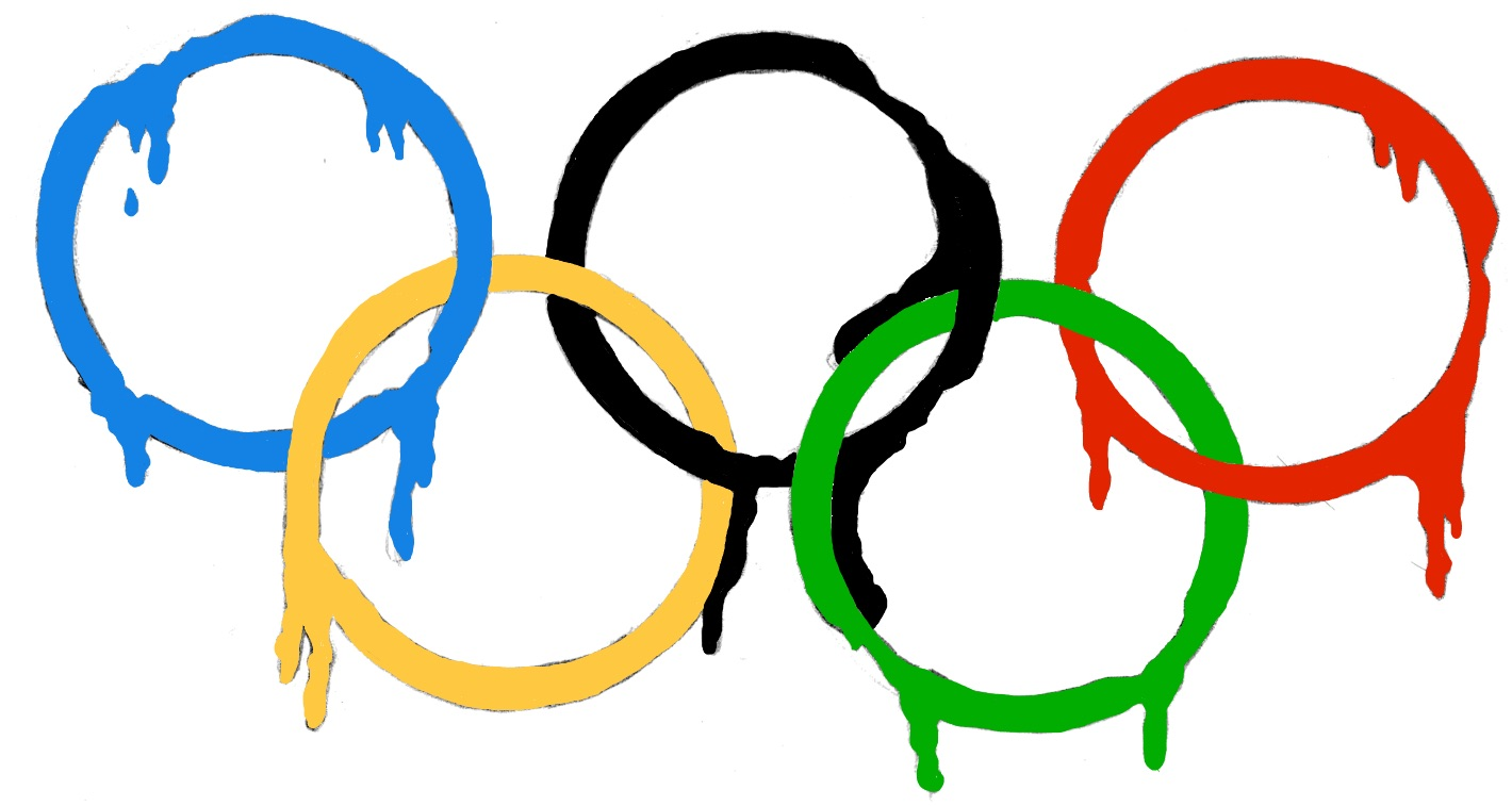 The five rings of the Olympics Games rings melting, with the colour dripping down.